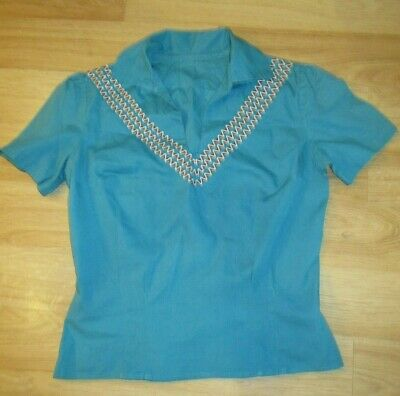 $18 • Buy Vintage Cotton Southwestern Top Square Dance Native American 50's XS Chest 34