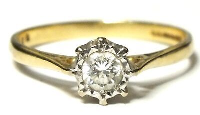 750 18ct YELLOW & WHITE GOLD 4mm 0.27ct DIAMOND Solitaire Ring, N, 2.20g - D43 • 144.10£