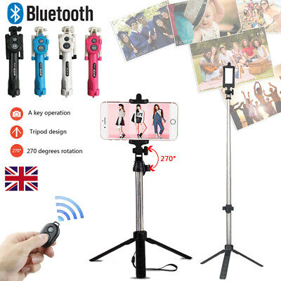 Wireless Foldable Selfie Tripod Phone Holder Stick Monopod With Remote Shutter • 6.99£