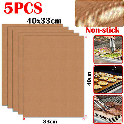 £7.99 • Buy 5x Non Stick Copper BBQ Grill Mat Baking Sheet Liner Oven Cooking Pads Reusable