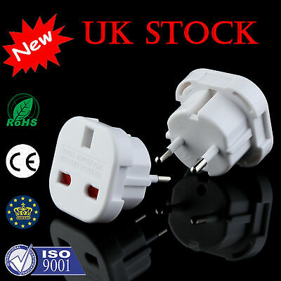 Plug 3-Pin UK To EU European Euro Europe 2-Pin Socket Converter Adapter • 3.98£