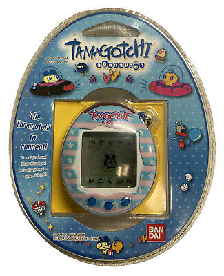 AU61 • Buy 2004 Pink & Blue Striped Bandai Tamagotchi Connexion #A02504 Never Opened 30216