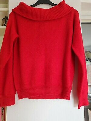 H&M Girls Red Off The Shoulder  Jumper - Top Age 10-12 Years  • 6.99£