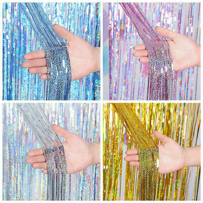 £4.69 • Buy 3M Tinsel Curtains Foil Shimmer Streamers Curtain Door Window Party Xmas Decors
