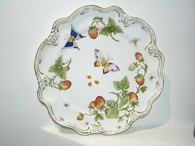 Coalport Cabinet Plate Fluted Scalloped Strawberry Butterlfy Hand Pntd Vintage  • 27.95£