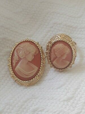 $25 • Buy Vintage Sarah Coventry Cameo Brooch/pendant And Ring Jewelry Set