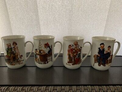 $ CDN10.10 • Buy Norman Rockwell Museum Porcelain Coffee Tea Cups Mugs 1982 Lot Of 4