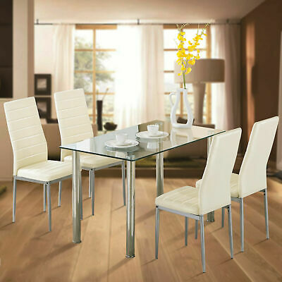 $179.99 • Buy 5 Pieces Dining Table Set W/ 4 Chairs Glass Metal Kitchen Dining Room Furniture