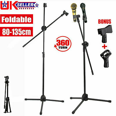 Professional Boom Arm Microphone Mic Stand Phone Holder Adjustable Free Clips  • 9.99£