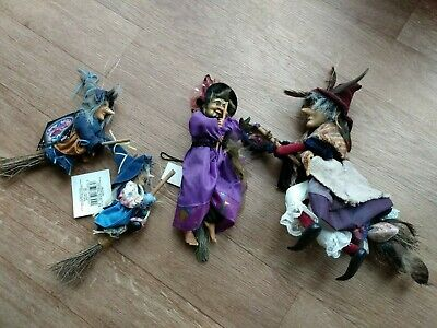 4 X Preowned  Witches Of Pendle  On Broomsticks Hanging  Models  10in,9in And 2  • 14.50£