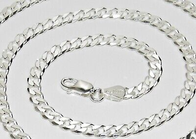 Sterling Silver Curb Chain - 3mm - 16  18  20  22  24  26  30  Solid 925 Silver • 13.95£