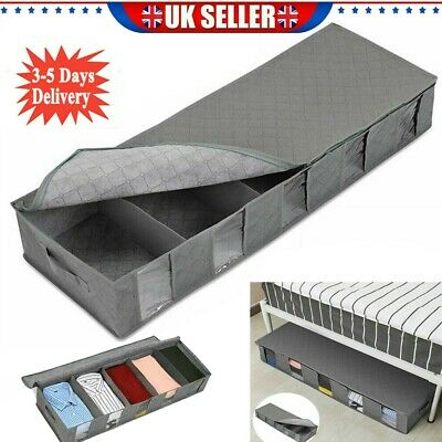 Large Capacity Under Bed Storage Bag Box 5 Compartments Clothes Organizer UK • 6.98£