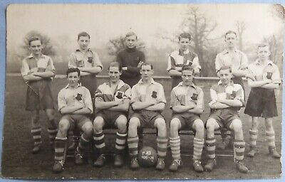 1935 1st Xi Real Photo Football Team Postcard Photograph Signatures To Reverse • 0.99£