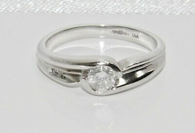 18ct White Gold 0.33ct Diamond Solitaire Engagement Ring - Size H • 245£