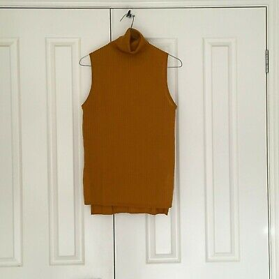 AU4 • Buy Mustard Uniqlo Sleeveless Woolblend Turtleneck Top (size M)- In Great Condition