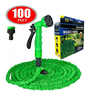 100 FT Deluxe Stretch Flexible Hose Extendable Compact Garden Water Hose Pipe • 14.48£