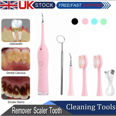 Electric Sonic Dental Scaler Plaque Tartar Calculus Remover Tooth Stains Tools# • 9.99£
