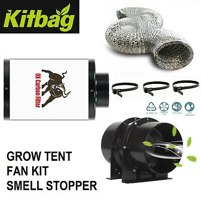 £54.99 • Buy Ox Hobby Carbon Filter Kit Odour Extraction Fan Duct Hydroponics Grow Tent Black