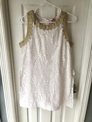 $75 • Buy Lilly Pulitzer Donna Romper Mocean White & Gold Lace Shift Dress Size 12 L