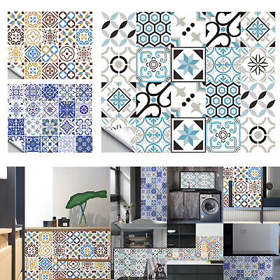20pcs Waterproof Tile Wall Stickers Kitchen Bathroom Self-Adhesive Mosaic Decor • 5.50£