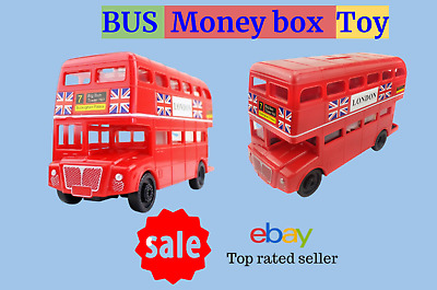 Big Die Cast Red Bus Money Bank Box Piggy Bank London Souvenir Gift Bus Model • 8£