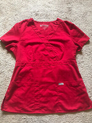 $6 • Buy GOOD USED CONDITION Women's Red GREY'S ANATOMY BY BARCO Scrub Top Size Medium