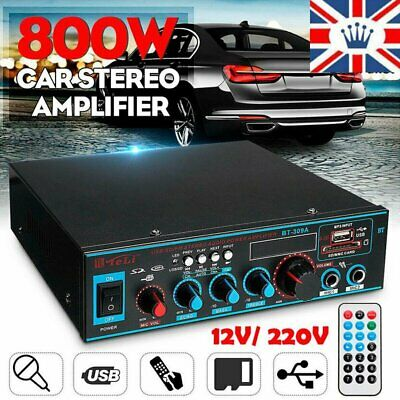 800W Bluetooth Stereo Subwoofer Power Amplifier Car Home HiFi Audio USB FM Amp • 24.81£