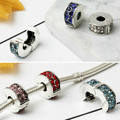 Crystal Bead Charm Bead Clip Stopper For European Bracelet DIY Jewelry Hot • 2.73£
