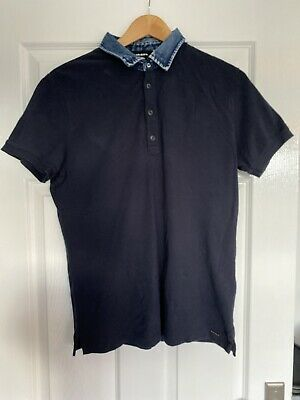 Mens Diesel Polo Shirt With Denim Collar Size M • 15£