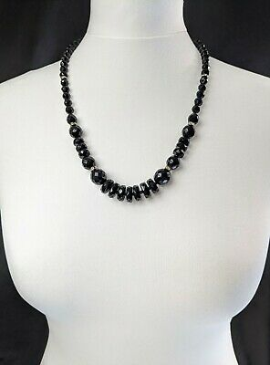 £30 • Buy Lovely Vintage Black Faceted Graduated French Jet Jewellery Necklace