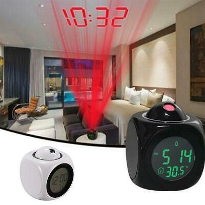 LED Digital Projection Alarm Clock Projector LCD Voice Talking Time Temperature • 5.33£