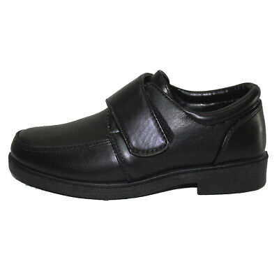 Boys Classic Faux Leather School Shoe Black Strap Over Easy Close Kid Teen Size • 9.99£