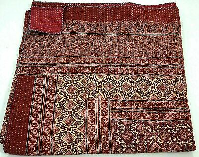 Indian Red Ajrak Hand Block Kantha Quilt Cotton Blanket Bedspread King Size  • 44.40£