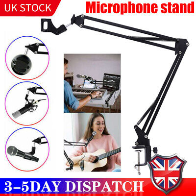 Broadcast Mic Desktop Microphone Suspension Boom Scissor Arm Stand Holder Studio • 8.69£