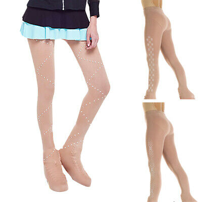 Girls Ice Figure Over Boot Skating Tights With Crystal Universal Footless • 9.72£