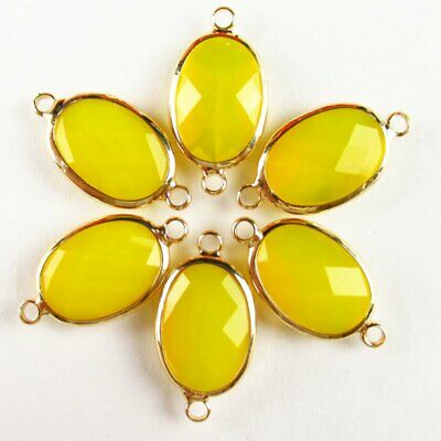 $ CDN21.47 • Buy 10pcs Wrapped Faceted Yellow Jade Oval Connector Pendant 18x13x6mm A-52BBS