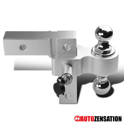 $71.99 • Buy Aluminum Adjustable Dual Tow Hitch Silver Ball Mount For 2Inches Receiver