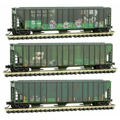 AU113.63 • Buy Micro-Trains MTL N-Scale Burlington Northern/BN Covered Hoppers Weathered 3-Pk