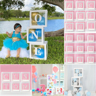 £4.25 • Buy A-Z Letter Cube Wedding Baby Shower Balloon Box Transparent Birthday Party Decor