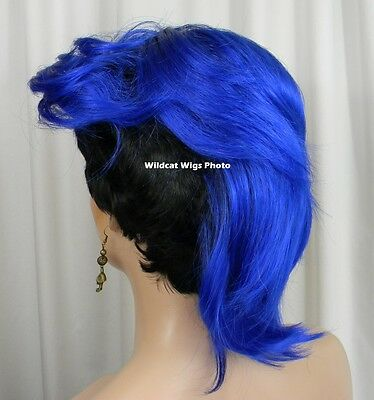 $29.99 • Buy Way Cool Vivid .. MOHAWK WIG .. New Style!   Black Tipped In Dark Blue! *