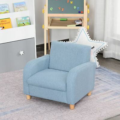 £47.99 • Buy HOCMOM Linen Child Armchair Wood Frame W/ Padding Seat Low-Rise Bedroom Blue