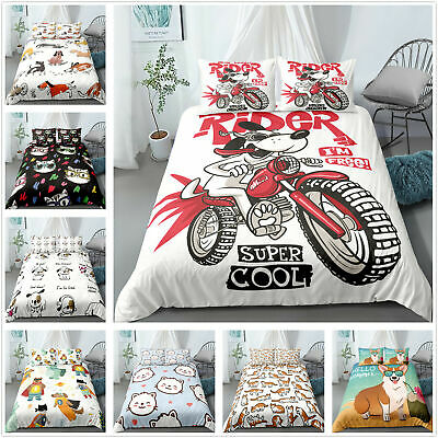 Cat Dog Theme Bedding Sets Quilt Duvet Covers Pillowcase Single Double King Size • 9.99£