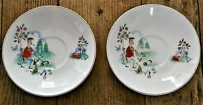 2 X Vintage 1950s Ridgway Pottery Saucers Man Gardening With Dog - Very Rare • 30£