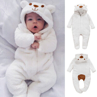 Newborn Baby Boy Girl Kids Bear Hooded Romper Jumpsuit Bodysuit Clothes Outfits • 10.39£