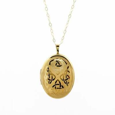 Eternity  9ct Gold Large Oval Celtic Engraved Locket And 16   Trace Chain  • 161£