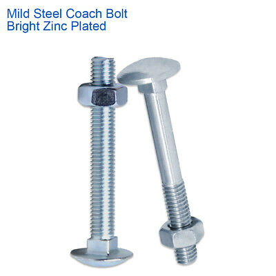 M5 X 70mm COACH CARRIAGE BOLTS CUP SQUARE BOLTS WITH HEX NUTS BZP DIN 603/555 • 2.99£