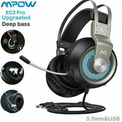 MPOW LED Virtual Stereo Gaming Headphone Surround Sound For Laptop Earphones PS4 • 28.99£