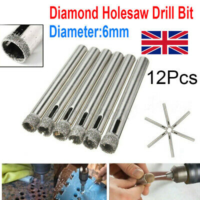 12Pcs 6mm Diamond Cutter Hole Saw Drill Bit Tools Set For Tile Ceramic Glass • 4.99£