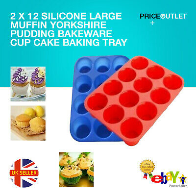 2 X 12 SILICONE LARGE MUFFIN YORKSHIRE PUDDING BAKEWARE CUP CAKE BAKING TRAY • 6.99£