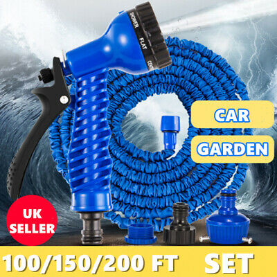 Heavy Duty Expandable Flexible Garden Magic Water Hose Pipe Spray Gun 50 100 200 • 11.99£